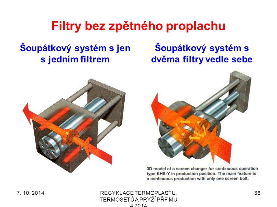 Filtry bez zpětného proplachu Šoupátkový systém s jen s jedním filtrem Šoupátkový systém s dvěma filtry vedle sebe RECYKLACE TERMOPLASTŮ, TERMOSETŮ A PRYŽÍ PŘF MU 4 2014 367.