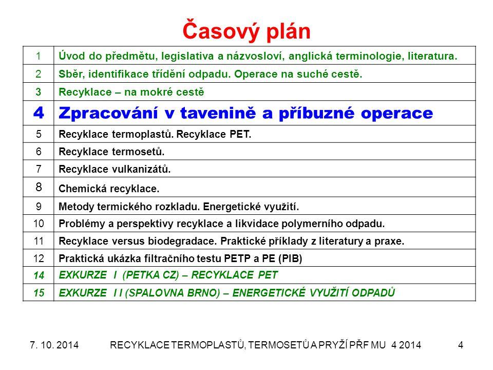 Kontinuální aglomerátor – popis procesu RECYKLACE TERMOPLASTŮ, TERMOSETŮ A PRYŽÍ PŘF MU 4 2014 157.