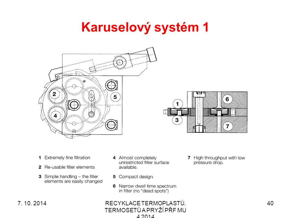 Karuselový systém 1 RECYKLACE TERMOPLASTŮ, TERMOSETŮ A PRYŽÍ PŘF MU 4 2014 407. 10. 2014