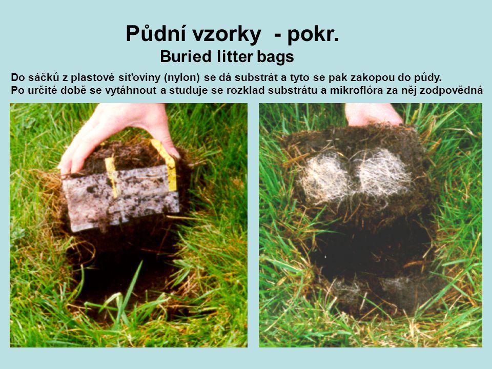 Buried litter bags Do sáčků z plastové síťoviny (nylon) se dá substrát a tyto se pak zakopou do půdy. Po určité době se vytáhnout a studuje se rozklad