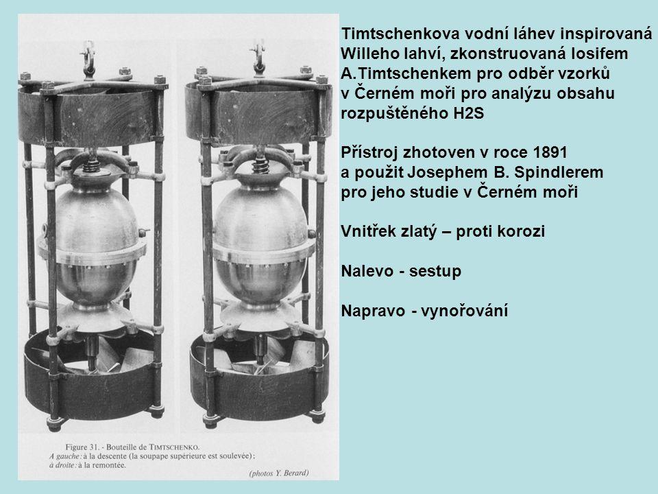 Timtschenkova vodní láhev inspirovaná Willeho lahví, zkonstruovaná Iosifem A.Timtschenkem pro odběr vzorků v Černém moři pro analýzu obsahu rozpuštěné