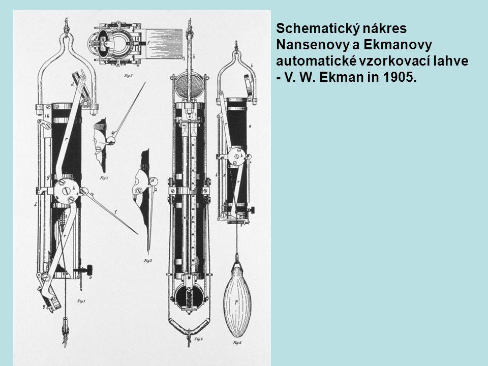 Schematický nákres Nansenovy a Ekmanovy automatické vzorkovací lahve - V. W. Ekman in 1905.