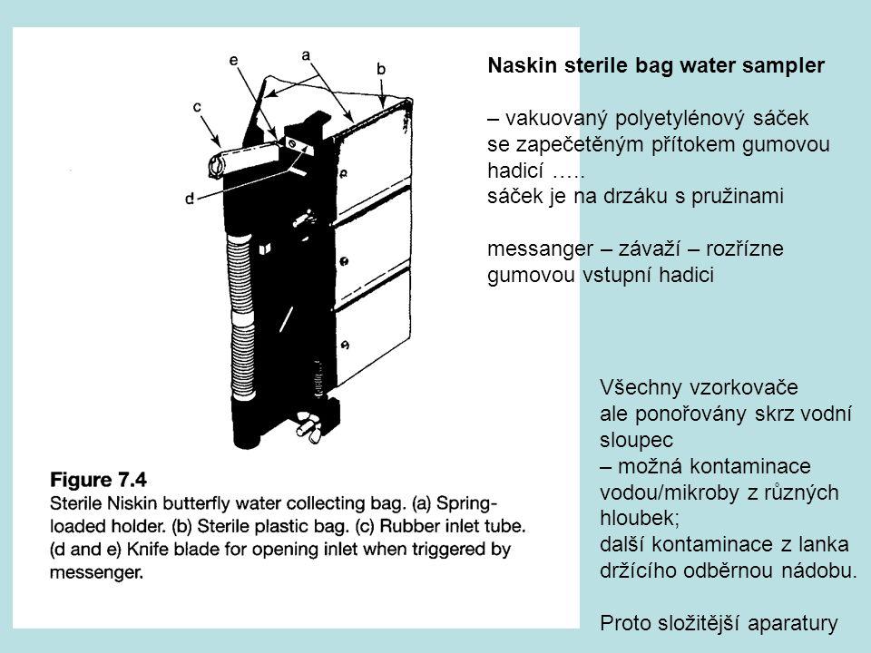 Naskin sterile bag water sampler – vakuovaný polyetylénový sáček se zapečetěným přítokem gumovou hadicí ….. sáček je na drzáku s pružinami messanger –