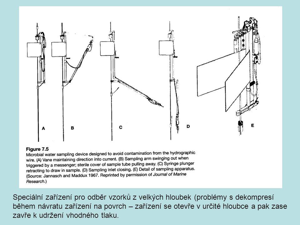 Speciální zařízení pro odběr vzorků z velkých hloubek (problémy s dekompresí během návratu zařízení na povrch – zařízení se otevře v určité hloubce a
