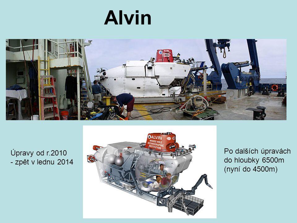 Alvin Po dalších úpravách do hloubky 6500m (nyní do 4500m) Úpravy od r.2010 - zpět v lednu 2014