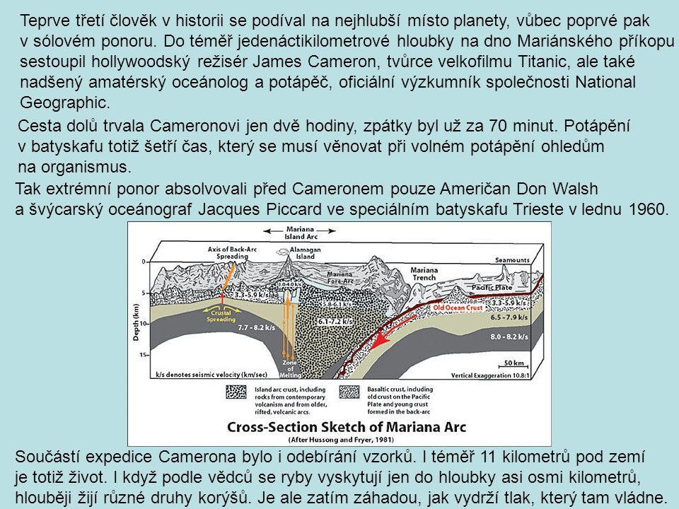 Součástí expedice Camerona bylo i odebírání vzorků. I téměř 11 kilometrů pod zemí je totiž život. I když podle vědců se ryby vyskytují jen do hloubky