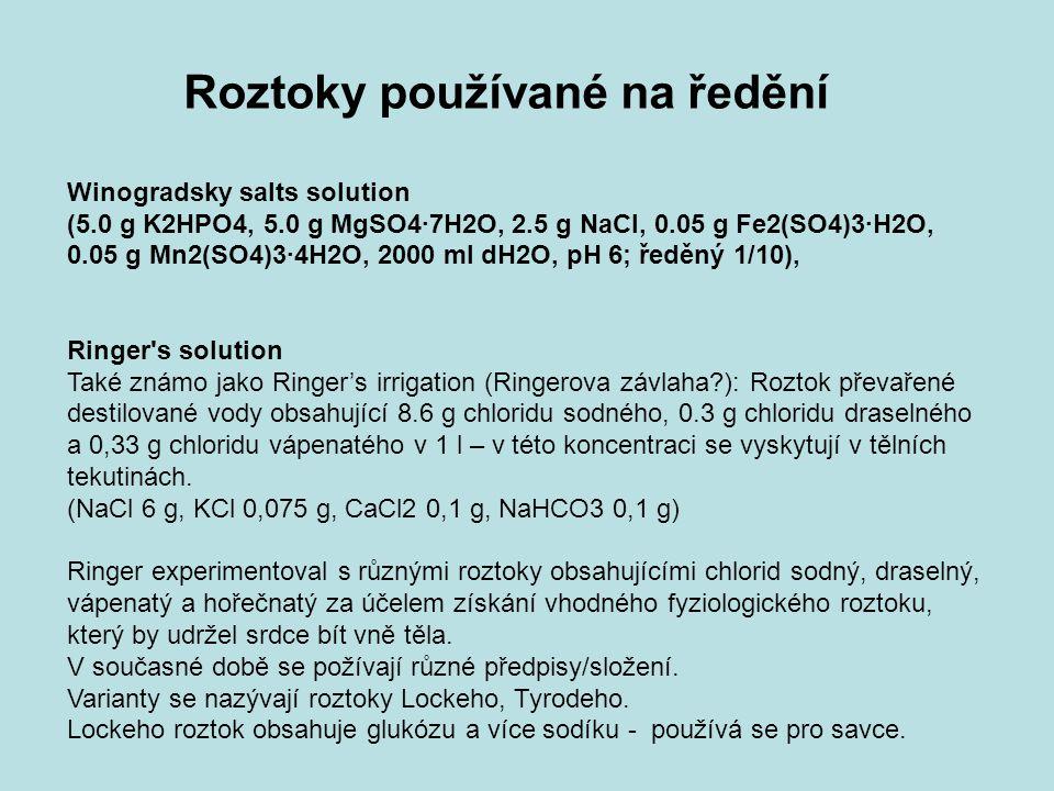 Roztoky používané na ředění Winogradsky salts solution (5.0 g K2HPO4, 5.0 g MgSO4·7H2O, 2.5 g NaCl, 0.05 g Fe2(SO4)3·H2O, 0.05 g Mn2(SO4)3·4H2O, 2000