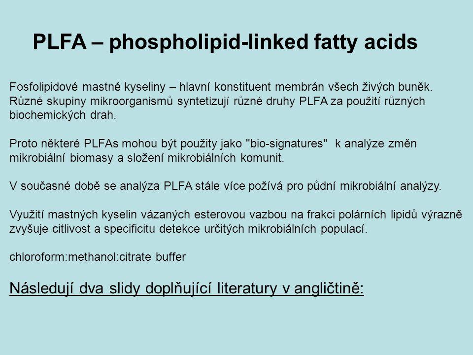 PLFA – phospholipid-linked fatty acids Fosfolipidové mastné kyseliny – hlavní konstituent membrán všech živých buněk. Různé skupiny mikroorganismů syn