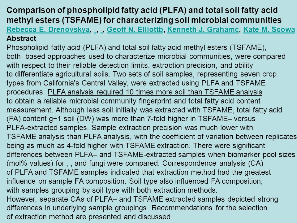 Comparison of phospholipid fatty acid (PLFA) and total soil fatty acid methyl esters (TSFAME) for characterizing soil microbial communities Rebecca E.
