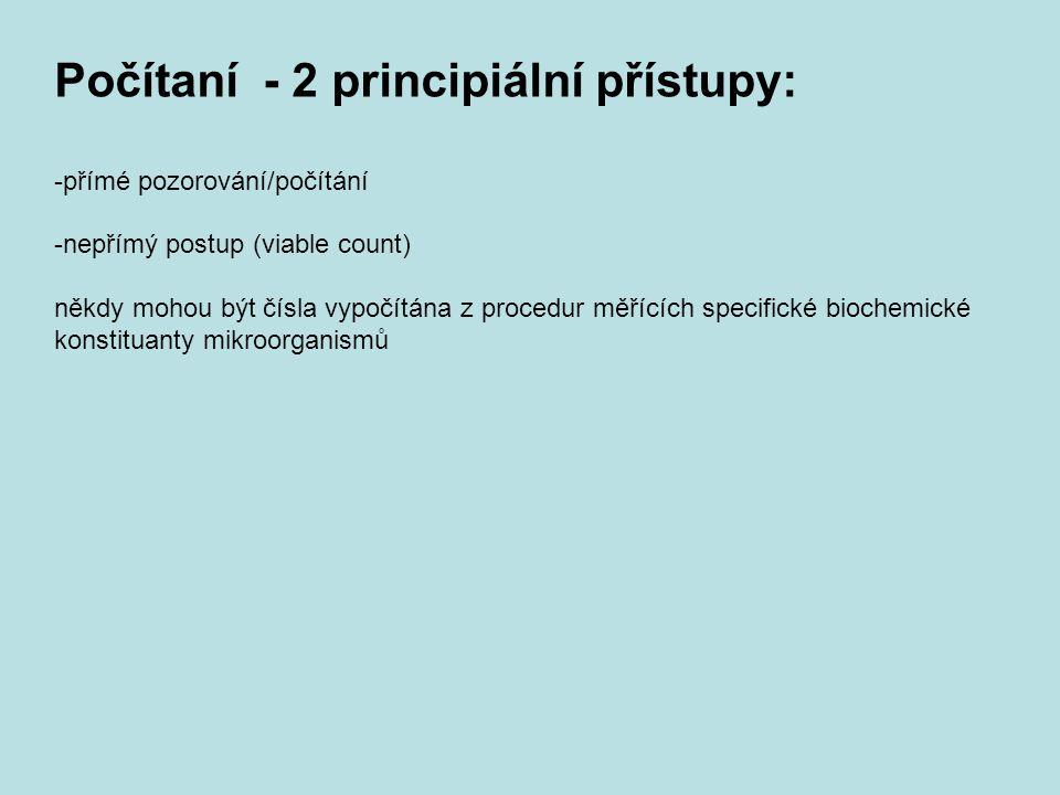 Počítaní - 2 principiální přístupy: -přímé pozorování/počítání -nepřímý postup (viable count) někdy mohou být čísla vypočítána z procedur měřících spe