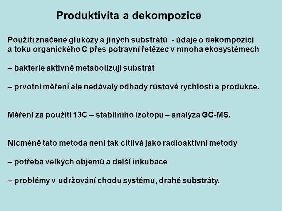 Produktivita a dekompozice Použití značené glukózy a jiných substrátů - údaje o dekompozici a toku organického C přes potravní řetězec v mnoha ekosyst