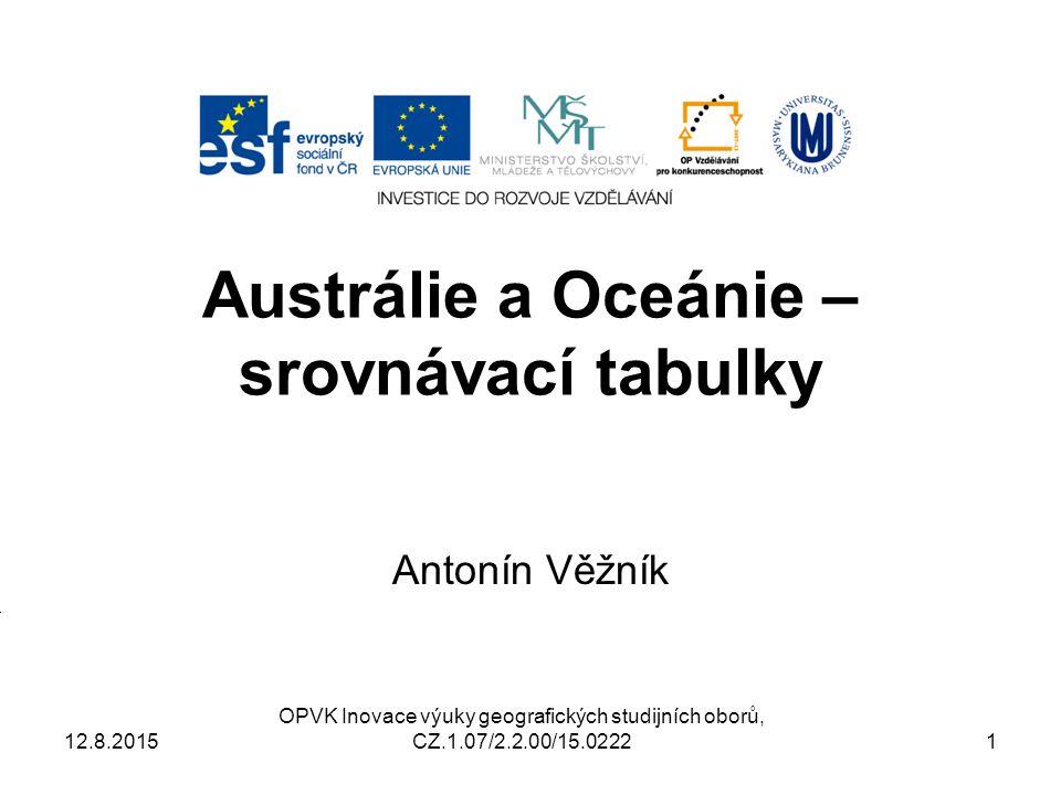Austrálie a Oceánie – srovnávací tabulky Antonín Věžník OPVK Inovace výuky geografických studijních oborů, CZ.1.07/2.2.00/15.0222 12.8.20151