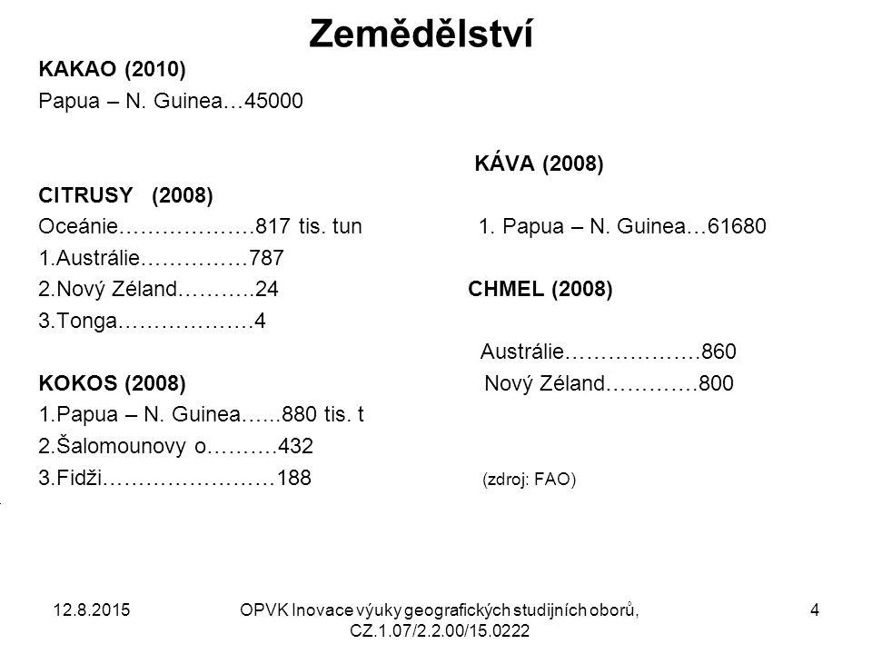 Zemědělství KAKAO (2010) Papua – N. Guinea…45000 KÁVA (2008) CITRUSY (2008) Oceánie……………….817 tis.