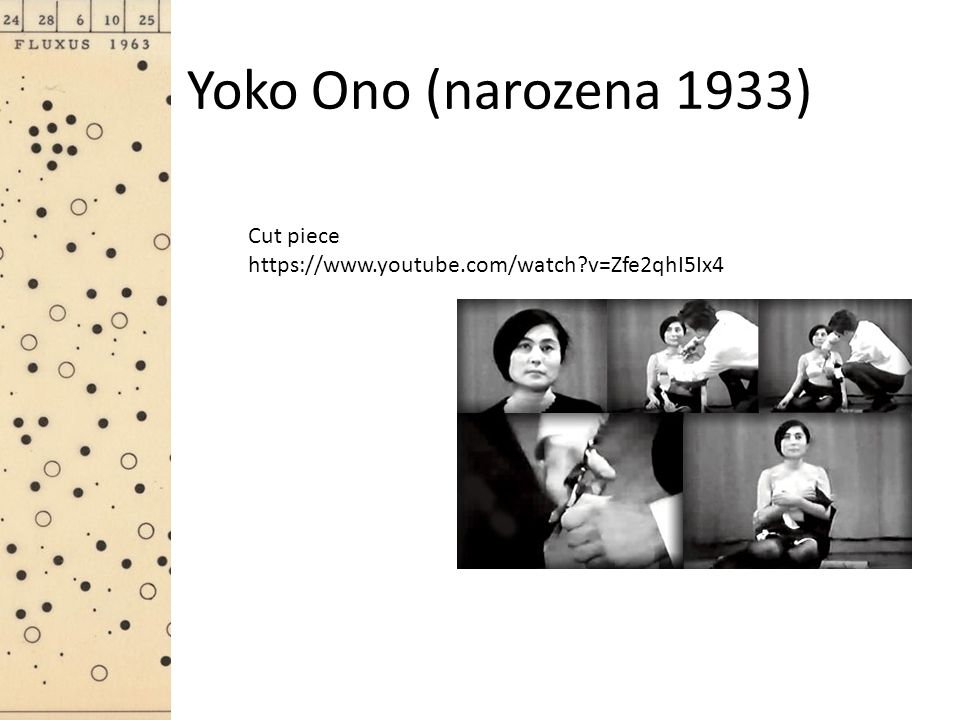 Yoko Ono (narozena 1933) Cut piece https://www.youtube.com/watch?v=Zfe2qhI5Ix4