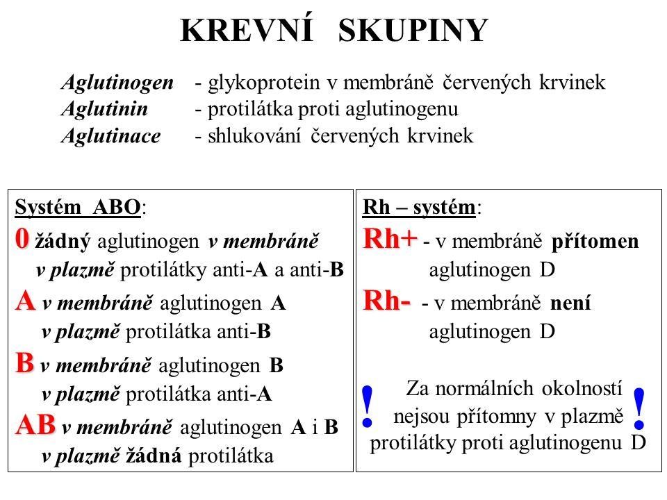 KREVNÍ SKUPINY Aglutinogen - glykoprotein v membráně červených krvinek Aglutinin - protilátka proti aglutinogenu Aglutinace - shlukování červených krvinek Systém ABO: 0 0 žádný aglutinogen v membráně v plazmě protilátky anti-A a anti-B A A v membráně aglutinogen A v plazmě protilátka anti-B B B v membráně aglutinogen B v plazmě protilátka anti-A AB AB v membráně aglutinogen A i B v plazmě žádná protilátka Rh – systém: Rh+ Rh+ - v membráně přítomen aglutinogen D Rh- Rh- - v membráně není aglutinogen D Za normálních okolností nejsou přítomny v plazmě protilátky proti aglutinogenu D .