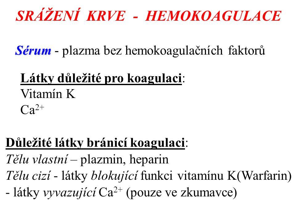 SRÁŽENÍ KRVE - HEMOKOAGULACE Sérum Sérum - plazma bez hemokoagulačních faktorů Látky důležité pro koagulaci: Vitamín K Ca 2+ Důležité látky bránicí koagulaci: Tělu vlastní – plazmin, heparin Tělu cizí - látky blokující funkci vitamínu K(Warfarin) - látky vyvazující Ca 2+ (pouze ve zkumavce)