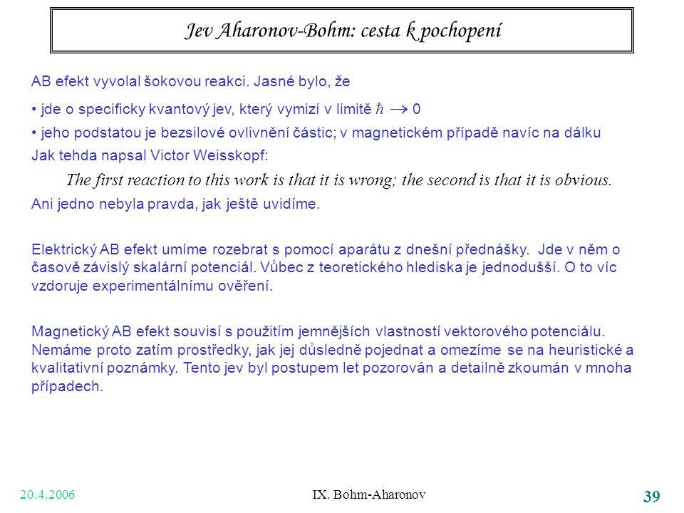 20.4.2006 IX. Bohm-Aharonov 39 Jev Aharonov-Bohm: cesta k pochopení AB efekt vyvolal šokovou reakci. Jasné bylo, že jde o specificky kvantový jev, kte