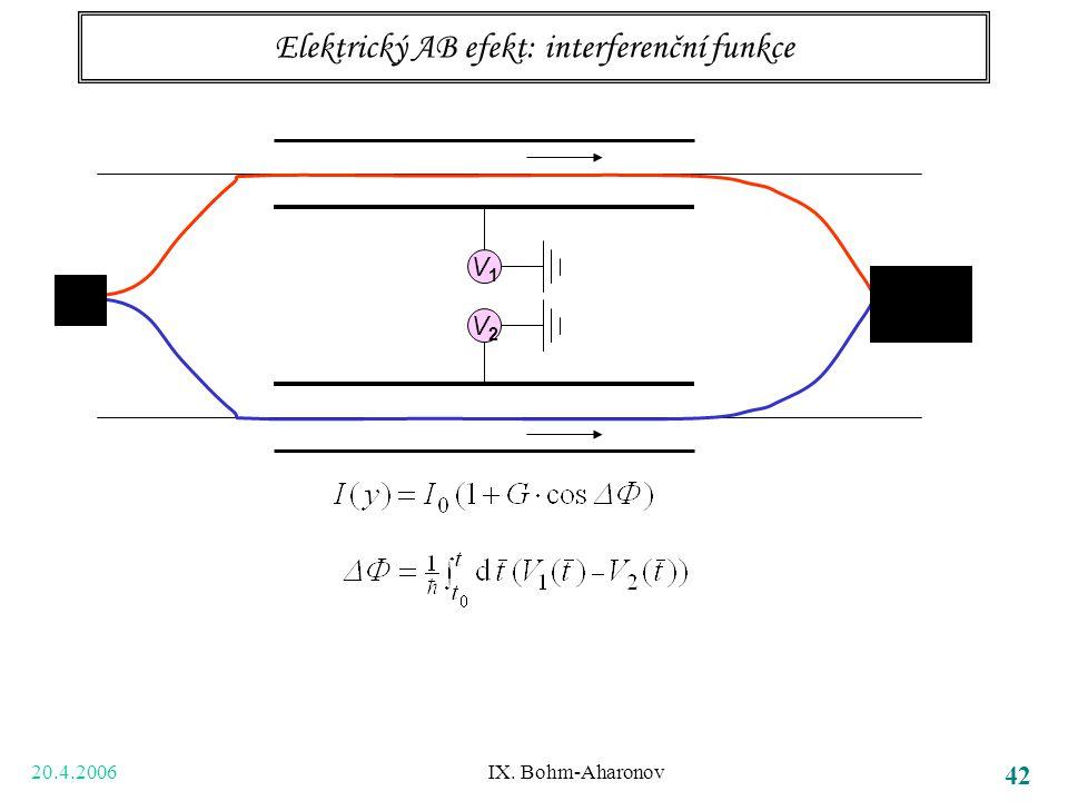 20.4.2006 IX. Bohm-Aharonov 42 Elektrický AB efekt: interferenční funkce V1V1 V2V2
