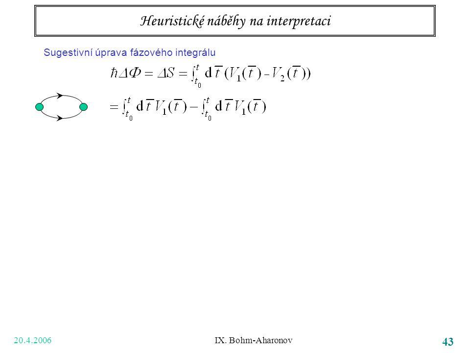 20.4.2006 IX. Bohm-Aharonov 43 Tři body k zapamatování bezsilové působení na dálku potenciály samy, ne jen pole (tedy jejich derivace) vedou k pozorov