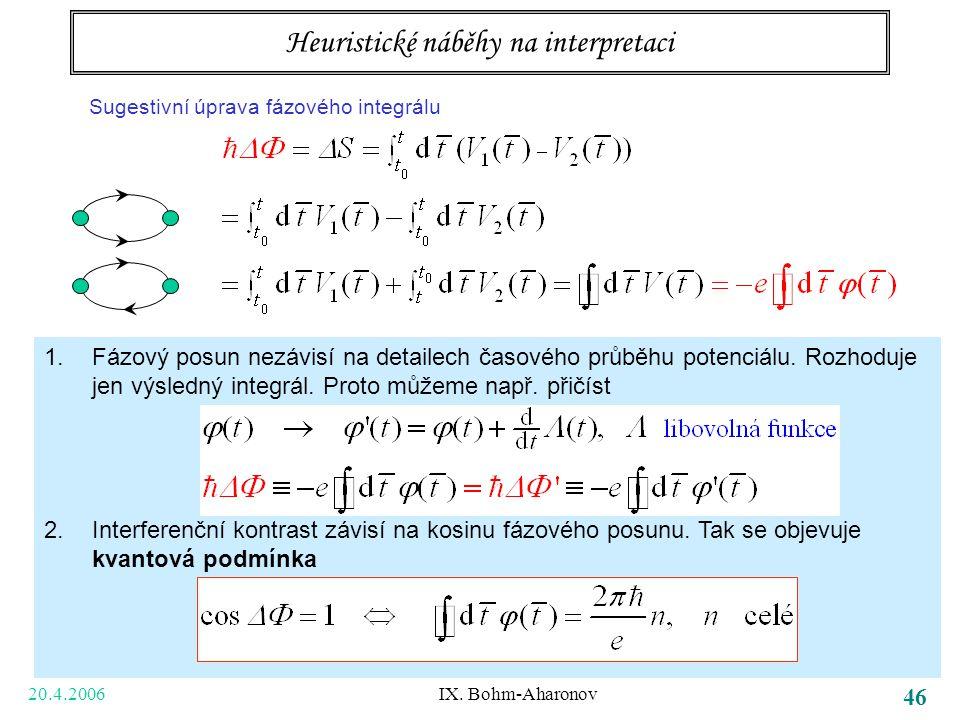20.4.2006 IX. Bohm-Aharonov 46 Tři body k zapamatování bezsilové působení na dálku potenciály samy, ne jen pole (tedy jejich derivace) vedou k pozorov