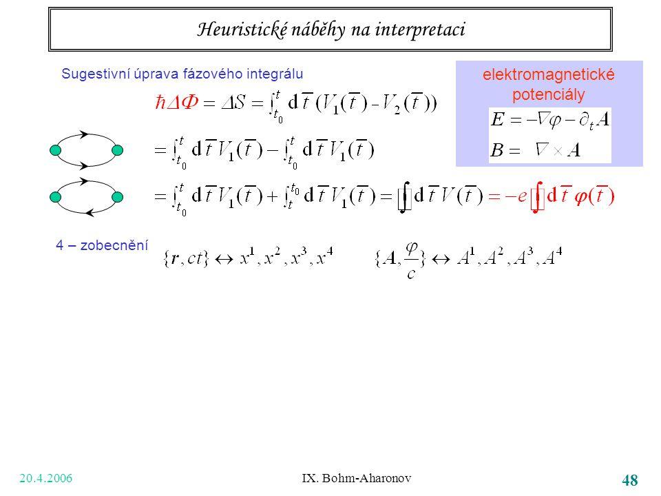 20.4.2006 IX. Bohm-Aharonov 48 Tři body k zapamatování bezsilové působení na dálku potenciály samy, ne jen pole (tedy jejich derivace) vedou k pozorov
