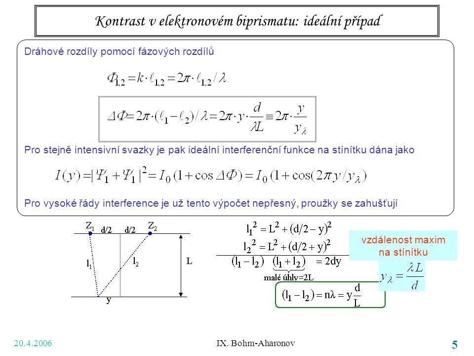 20.4.2006 IX. Bohm-Aharonov 5 vzdálenost maxim na stínítku Dráhové rozdíly pomocí fázových rozdílů Pro stejně intensivní svazky je pak ideální interfe