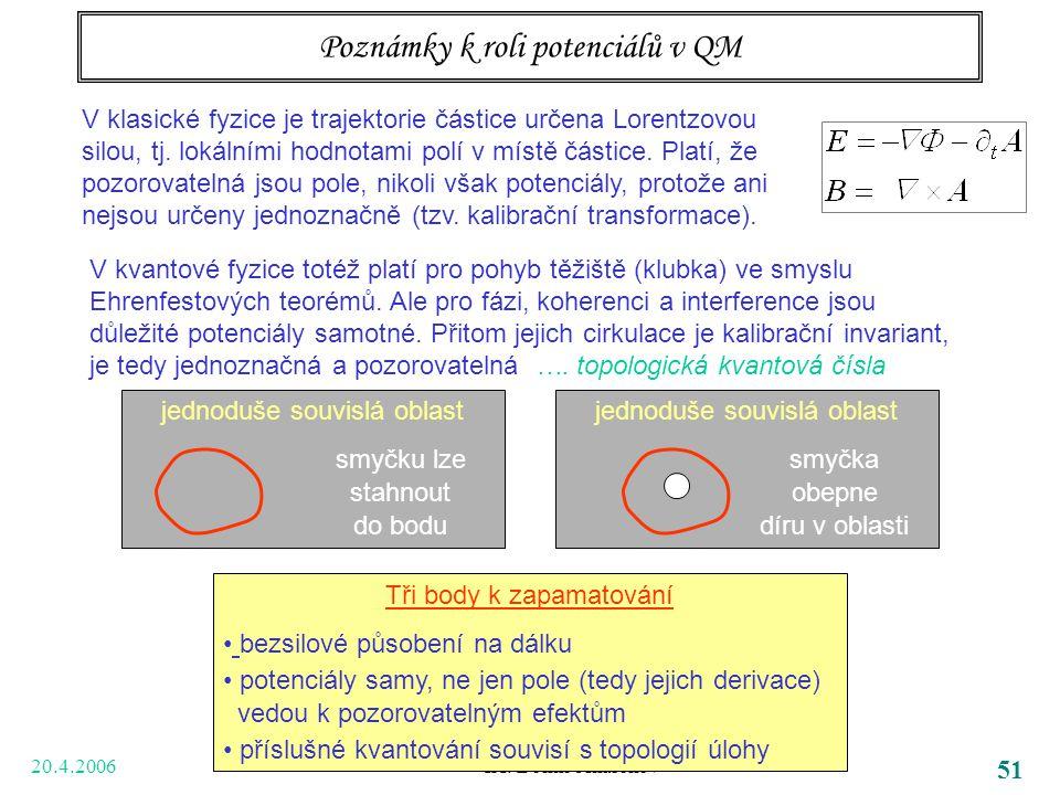 20.4.2006 IX. Bohm-Aharonov 51 Poznámky k roli potenciálů v QM V klasické fyzice je trajektorie částice určena Lorentzovou silou, tj. lokálními hodnot