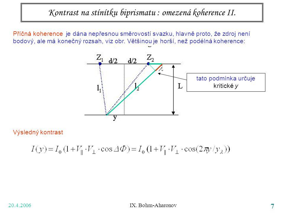 20.4.2006 IX. Bohm-Aharonov 7 Kontrast na stínítku biprismatu : omezená koherence II. Příčná koherence je dána nepřesnou směrovostí svazku, hlavně pro