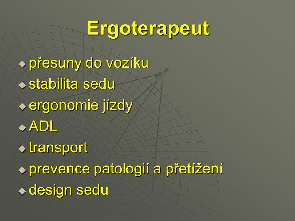 Ergoterapeut  přesuny do vozíku  stabilita sedu  ergonomie jízdy  ADL  transport  prevence patologií a přetížení  design sedu