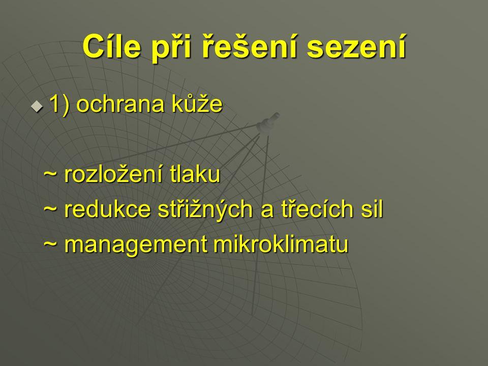 Cíle při řešení sezení  1) ochrana kůže ~ rozložení tlaku ~ rozložení tlaku ~ redukce střižných a třecích sil ~ redukce střižných a třecích sil ~ man