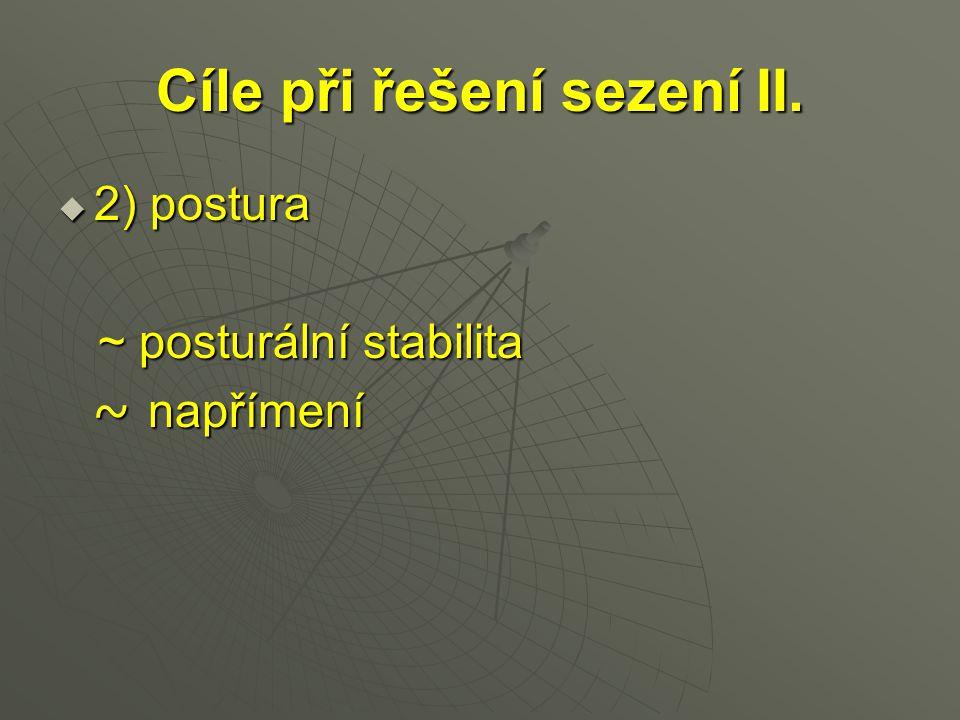 Cíle při řešení sezení II.  2) postura ~ posturální stabilita ~ posturální stabilita ~ napřímení ~ napřímení