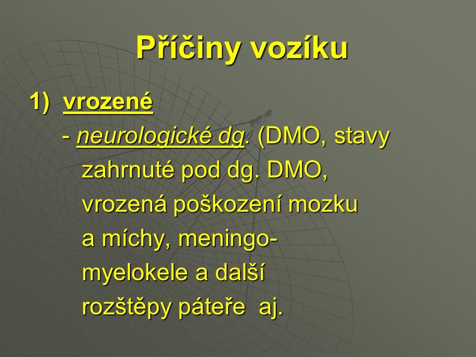 Příčiny vozíku 1) vrozené - neurologické dg. (DMO, stavy - neurologické dg. (DMO, stavy zahrnuté pod dg. DMO, zahrnuté pod dg. DMO, vrozená poškození