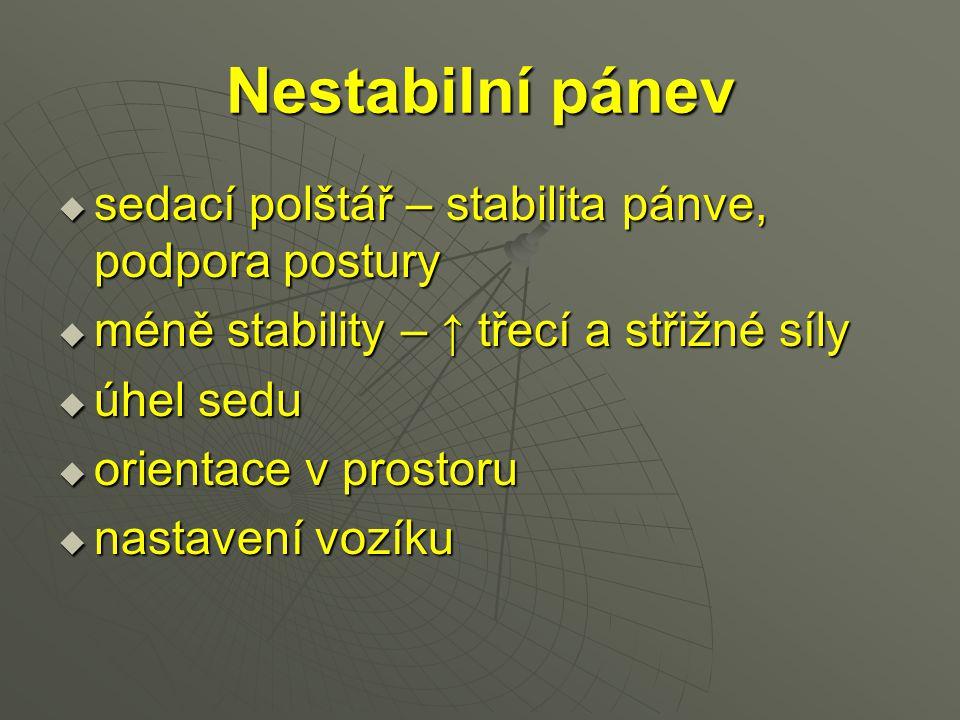 Nestabilní pánev  sedací polštář – stabilita pánve, podpora postury  méně stability – ↑ třecí a střižné síly  úhel sedu  orientace v prostoru  na