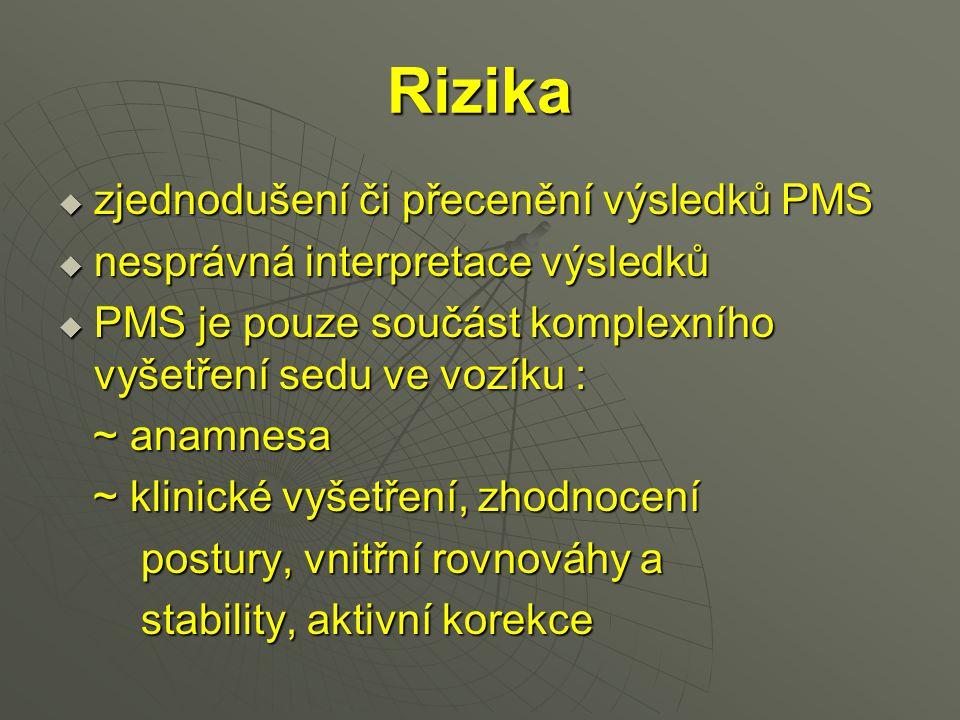 Rizika  zjednodušení či přecenění výsledků PMS  nesprávná interpretace výsledků  PMS je pouze součást komplexního vyšetření sedu ve vozíku : ~ anam