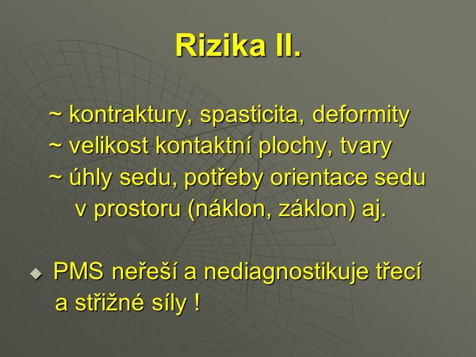 Rizika II. ~ kontraktury, spasticita, deformity ~ kontraktury, spasticita, deformity ~ velikost kontaktní plochy, tvary ~ velikost kontaktní plochy, t