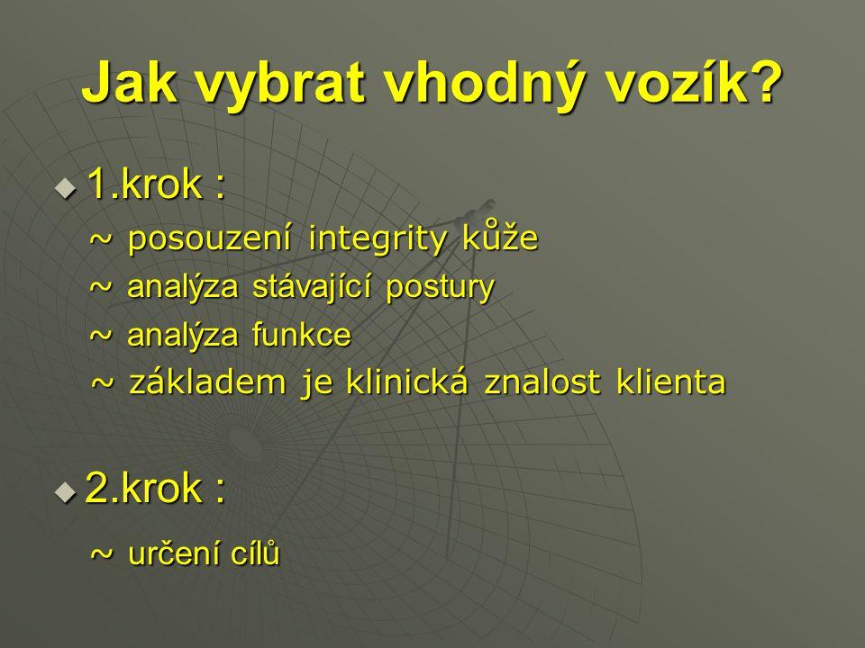 Jak vybrat vhodný vozík?  1.krok : ~ posouzení integrity kůže ~ posouzení integrity kůže ~ analýza stávající postury ~ analýza stávající postury ~ an