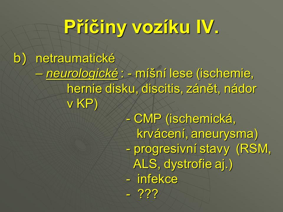 Příčiny vozíku IV. b) netraumatické b) netraumatické – neurologické : - míšní lese (ischemie, – neurologické : - míšní lese (ischemie, hernie disku, d