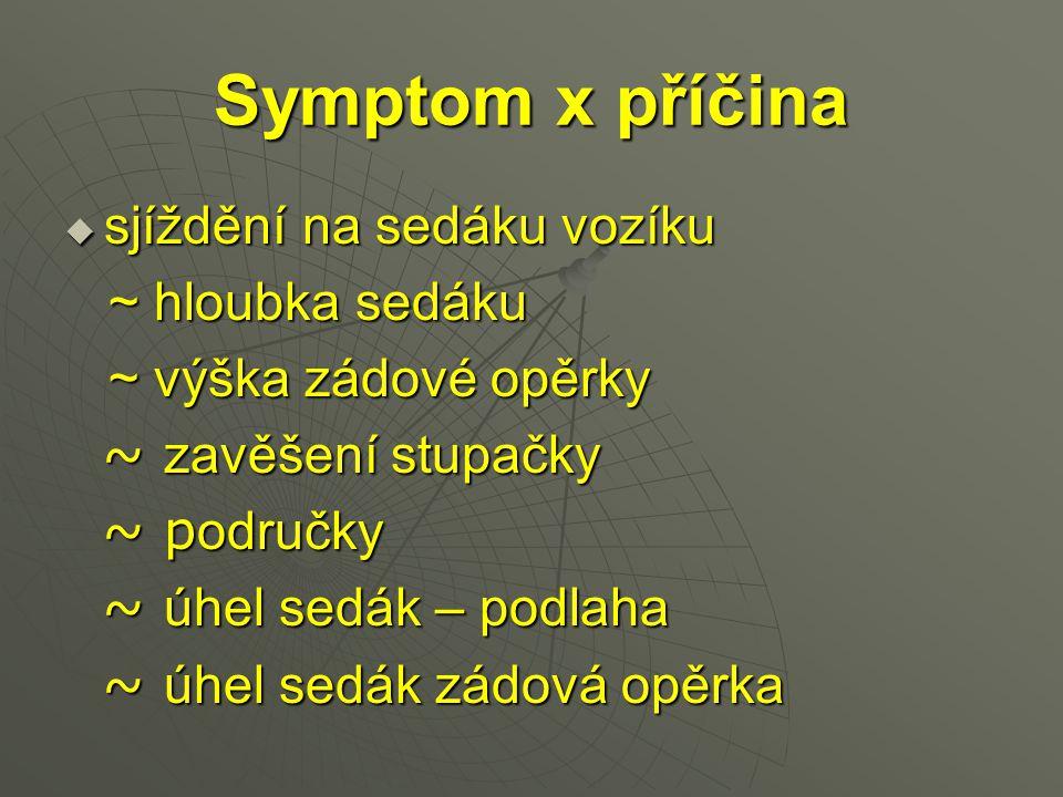 Symptom x příčina  sjíždění na sedáku vozíku ~ hloubka sedáku ~ hloubka sedáku ~ výška zádové opěrky ~ výška zádové opěrky ~ zavěšení stupačky ~ zavě