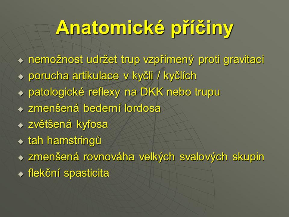 Anatomické příčiny  nemožnost udržet trup vzpřímený proti gravitaci  porucha artikulace v kyčli / kyčlích  patologické reflexy na DKK nebo trupu 