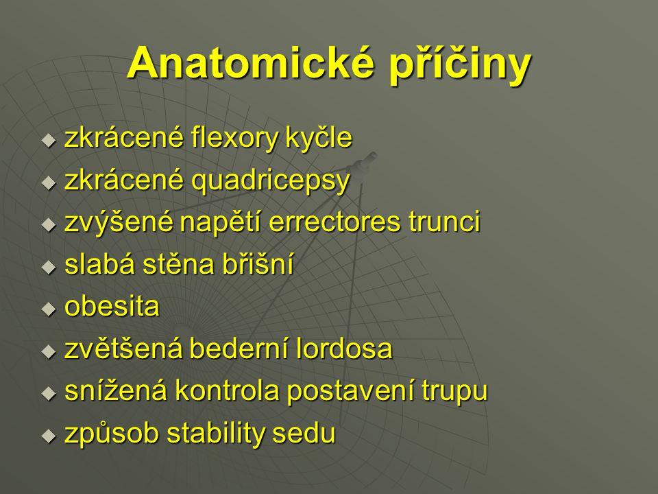 Anatomické příčiny  zkrácené flexory kyčle  zkrácené quadricepsy  zvýšené napětí errectores trunci  slabá stěna břišní  obesita  zvětšená bedern