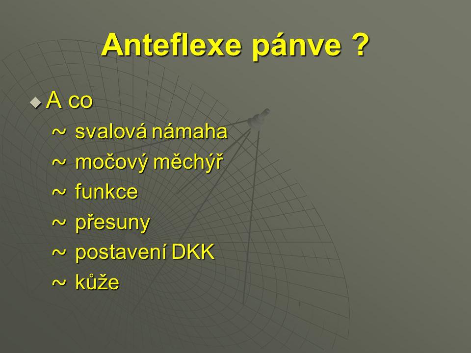 Anteflexe pánve ?  A co ~ svalová námaha ~ svalová námaha ~ močový měchýř ~ močový měchýř ~ funkce ~ funkce ~ přesuny ~ přesuny ~ postavení DKK ~ pos