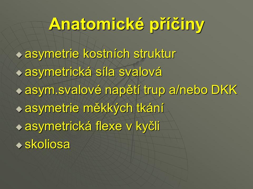 Anatomické příčiny  asymetrie kostních struktur  asymetrická síla svalová  asym.svalové napětí trup a/nebo DKK  asymetrie měkkých tkání  asymetri