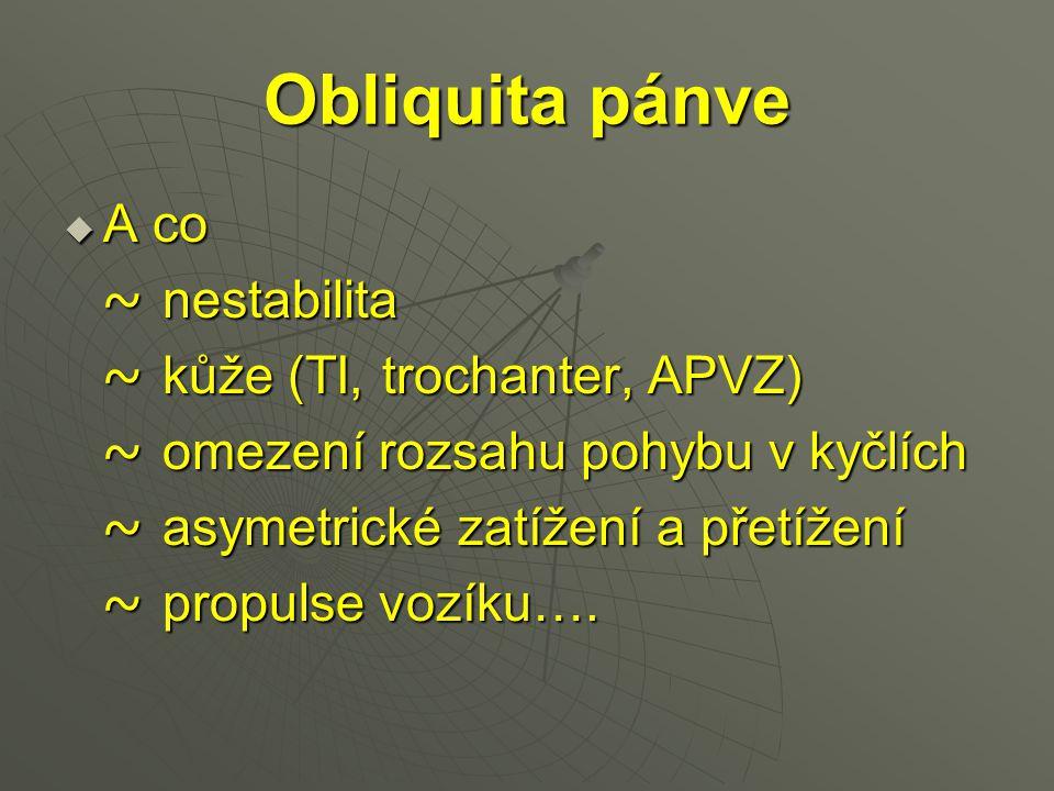 Obliquita pánve  A co ~ nestabilita ~ nestabilita ~ kůže (TI, trochanter, APVZ) ~ kůže (TI, trochanter, APVZ) ~ omezení rozsahu pohybu v kyčlích ~ om