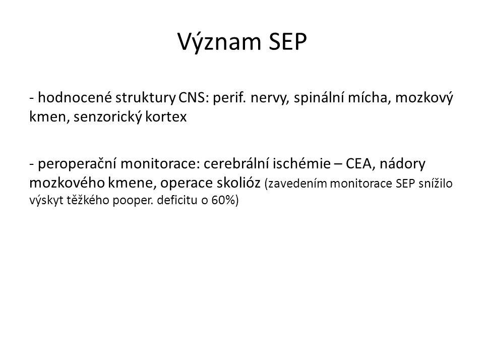 Význam SEP - hodnocené struktury CNS: perif. nervy, spinální mícha, mozkový kmen, senzorický kortex - peroperační monitorace: cerebrální ischémie – CE
