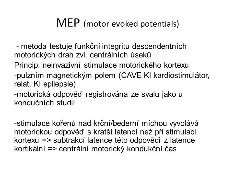 MEP (motor evoked potentials) - metoda testuje funkční integritu descendentních motorických drah zvl. centrálních úseků Princip: neinvazivní stimulace