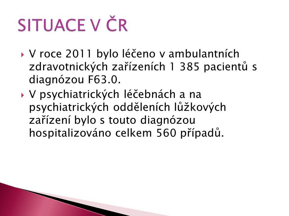  V roce 2011 bylo léčeno v ambulantních zdravotnických zařízeních 1 385 pacientů s diagnózou F63.0.  V psychiatrických léčebnách a na psychiatrickýc