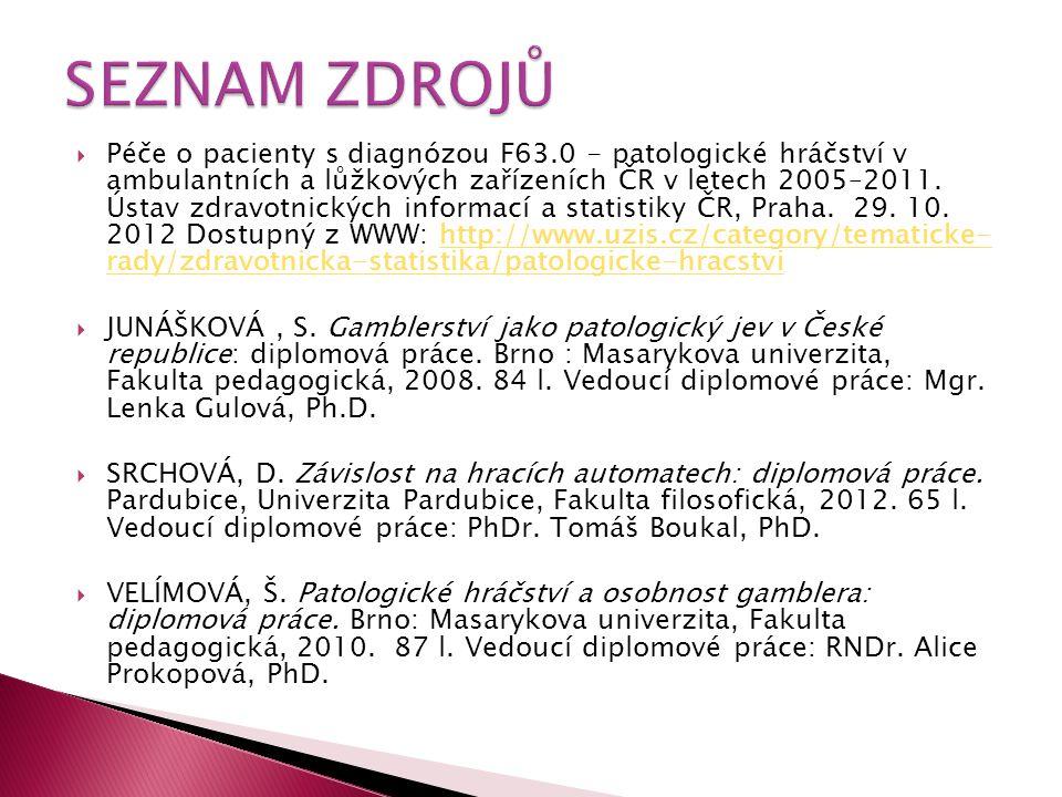  Péče o pacienty s diagnózou F63.0 - patologické hráčství v ambulantních a lůžkových zařízeních ČR v letech 2005–2011. Ústav zdravotnických informací