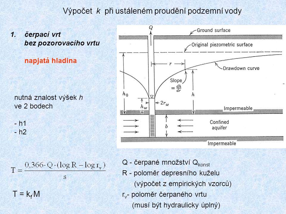 Výpočet k při ustáleném proudění podzemní vody 1.čerpací vrt bez pozorovacího vrtu napjatá hladina nutná znalost výšek h ve 2 bodech - h1 - h2 T = kf.MT = kf.M Q - čerpané množství Q konst R - poloměr depresního kuželu (výpočet z empirických vzorců) r v - poloměr čerpaného vrtu (musí být hydraulicky úplný)