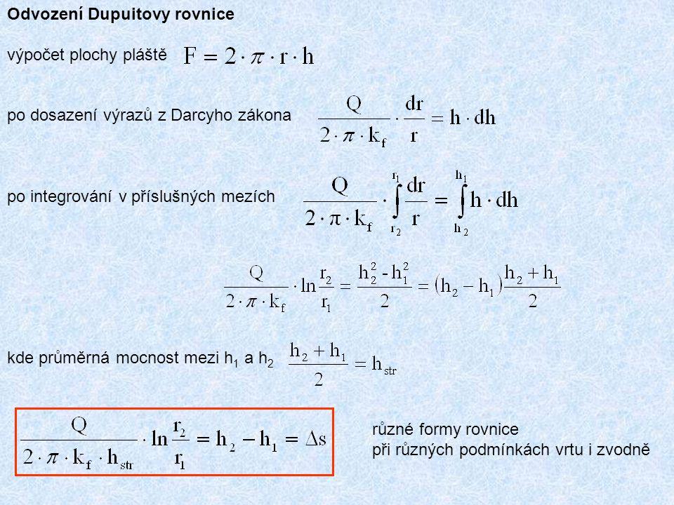 Odvození Dupuitovy rovnice výpočet plochy pláště po dosazení výrazů z Darcyho zákona po integrování v příslušných mezích kde průměrná mocnost mezi h 1