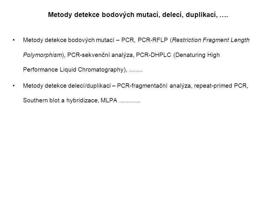 Metody detekce bodových mutací, delecí, duplikací, …. Metody detekce bodových mutací – PCR, PCR-RFLP (Restriction Fragment Length Polymorphism), PCR-s